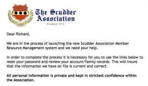 Members Requested to Register for New Scudder Association 2.0 Digital System