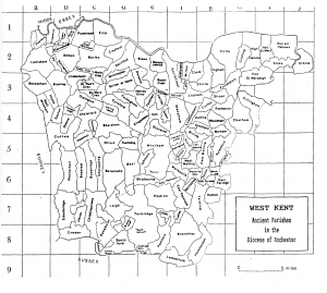 West Kent Map Ancient Parishes in the Dioceses of Rochester