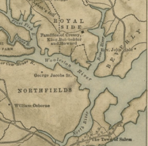 map 'Section of Salem where Thomas1 Scudder, his wife Elizabeth ___? and their children lived'