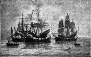 Arrival of the Winthrop Colony, by William F. Halsall