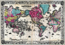 1852 Colton's Map of the World on Mercator's Projection