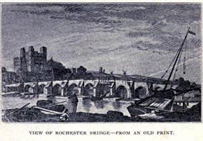 View of Rochester Bridge from an Old Print