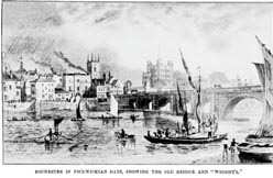 "Rochester in Pickwickian Days, showing the old bridge and ""Wrights,"""